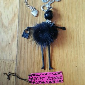 NWT BETSEY JOHNSON Articulated Lady w Fur Necklace
